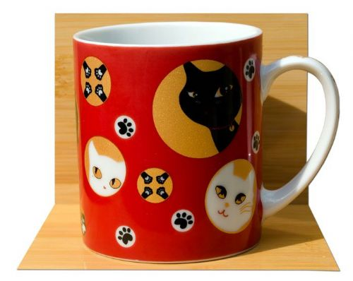 Red Lucky cat Tea mug Japanese